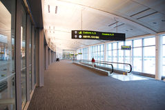 Airport. An airport hall way going to customs Stock Photo