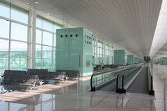 Airport. Modern terminal airport T1 in Barcelona, Spain Stock Photo