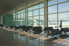 Airport. Modern airport terminal T1 in Barcelona, Spain royalty free stock image