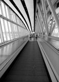 Airport abstract. Gangway in london airport from moving escalator Stock Photo