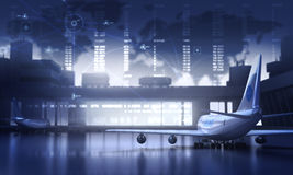 Airport. Abstract map and airplanes in the Airport Stock Photography