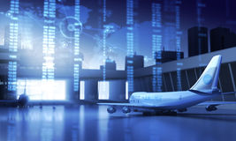 Airport. Abstract map and airplanes in the Airport Stock Photo