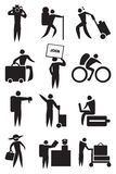 Airport Activities and Travel Icon Set in Black and White. Vector icons for travel and airport activities  on white background Royalty Free Stock Images