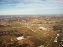 Airport Aerial. Kansas City International airport viewed from the east looking west at 4000 feet Stock Image