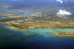 Airport aerial view. An aerial view of airport in Maui - Hawaii Stock Photos