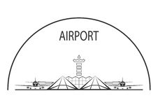 Airport. Air terminal building isolated on white. Vector illustration Stock Image