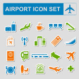 Airport, air travel icon set. Vector illustration Stock Photography