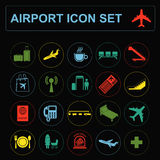 Airport, air travel icon set. Vector illustration Royalty Free Stock Photo