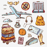 Airport and air travel icons concept traveling on. Airplane tourism journey passenger objects Stock Photography