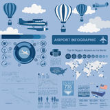 Airport, air travel infographic with design elements. Infographi Royalty Free Stock Photos