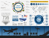 Airport, air travel infographic with design elements. Infographi Royalty Free Stock Image