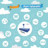 Airport, air travel infographic with design elements. Infographi Stock Image