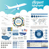 Airport, air travel infographic with design elements. Infographi Royalty Free Stock Images