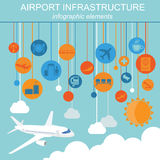 Airport, air travel infographic with design elements. Infographi Royalty Free Stock Photo
