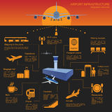 Airport, air travel infographic with design elements. Infographi stock illustration