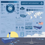 Airport, air travel infographic with design elements. Infographic template with statistical data stock illustration