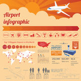 Airport, air travel infographic with design elements. Infographic Stock Photo