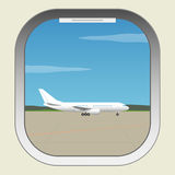 Airport. Aircraft illuminator window view Royalty Free Stock Images