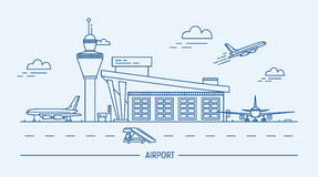 Airport, aircraft. Lineart black and white vector illustration with air terminal and airplanes. Royalty Free Stock Image