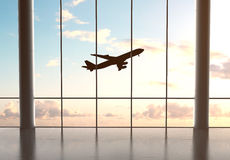 Airport and airplane. In blue sky Stock Photo