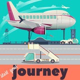 Airport and airplane flat vector illustration Stock Image