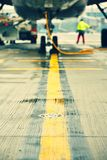 Airport. Airplane is parking at the airport - selective focus Stock Photos