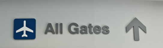Airport All Gates Sign royalty free stock photo