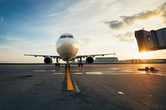 Airport at the amazing sunset Stock Image