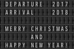 Airport Announcement Flip Mechanical Timetable with Hapy Merry C. Hristmas and Happy New Year Sign extreme closeup. 3d Rendering Royalty Free Illustration