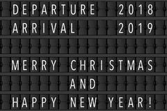 Airport Announcement Flip Mechanical Timetable with Hapy Merry C. Hristmas and Happy New 2019 Year Sign extreme closeup. 3d Rendering royalty free illustration