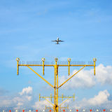 Airport approach landing direction light Royalty Free Stock Photography