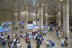 Passengers in Ben Gurion Airport,Israel. Passengers in Ben Gurion Airport Arrival Hall in  Israel Royalty Free Stock Image