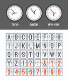 Airport arrival table alphabet with characters and numbers for departures, arrivals, clocks, countdowns. Royalty Free Stock Photography