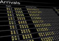 Airport Arrivals Board. Showing flight information Stock Image