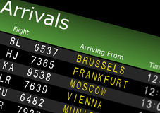 Airport Arrivals Board. Showing flight information Royalty Free Stock Photos