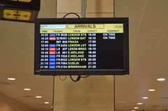 Airport Arrivals Board Royalty Free Stock Photo