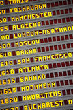Airport arrivals and departures board close up vertical Royalty Free Stock Image