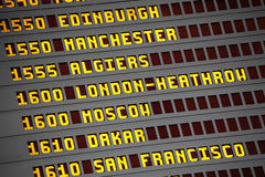 Airport arrivals and departures display board london heathrow Royalty Free Stock Photos