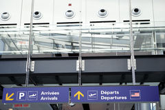 Airport Arrivals and Departures signs. Arrivals and departures signs in contemporary airport stock photo