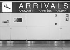 Airport arrivals sign Royalty Free Stock Photo