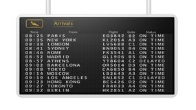 Airport arrivals timetable. 3D rendering of airport digital arrivals timetable.Isolated Royalty Free Stock Images