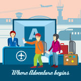 Airport background in flat style. Travel vector Royalty Free Stock Photos