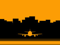 Airport background with skyscraper and plane Stock Image