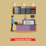 Airport baggage check concept vector illustration in flat style. Royalty Free Stock Image