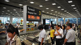 Airport Baggage Claim Area. A view of the baggage claim area at Suvanaphumi Airport on July 7, 2012 in Bangkok, Thailand. The airport is an aviation hub for Royalty Free Stock Photos