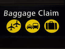 Airport baggage claim sign. Airport baggage sign directing passengers to various areas of the airport Stock Photography