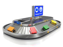 Airport Baggage Claim Transporter. With colorful cases - 3d illustration Stock Image