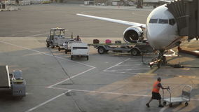 Airport Baggage Handler. An airport baggage handler loads a plane getting ready for takeoff stock video footage