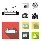 Airport, bank, residential building, ferris wheel. Building set collection icons in black, flat style vector symbol. Airport, bank, residential building, ferris Royalty Free Stock Photography