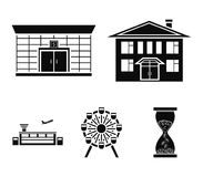Airport, bank, residential building, ferris wheel. Building set collection icons in black style vector symbol stock. Airport, bank, residential building, ferris Royalty Free Stock Images